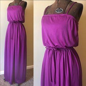 Vintage 70s purple maxi dress
